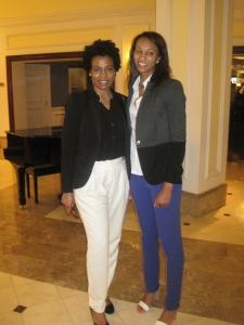 Arantxa King (Bermuda Olympian) and myself at the Opening Banquet