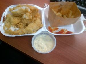 An 'order of fish' with 'half fries' from popular local carry out - Art Mel's.